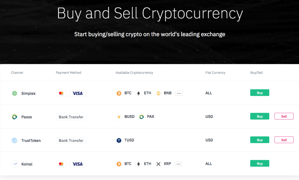 Binance comprar criptomonedas con tarjeta de crédito